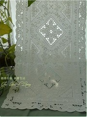 Vintage Handmade Drawnwork and Embroidery White Table Runner